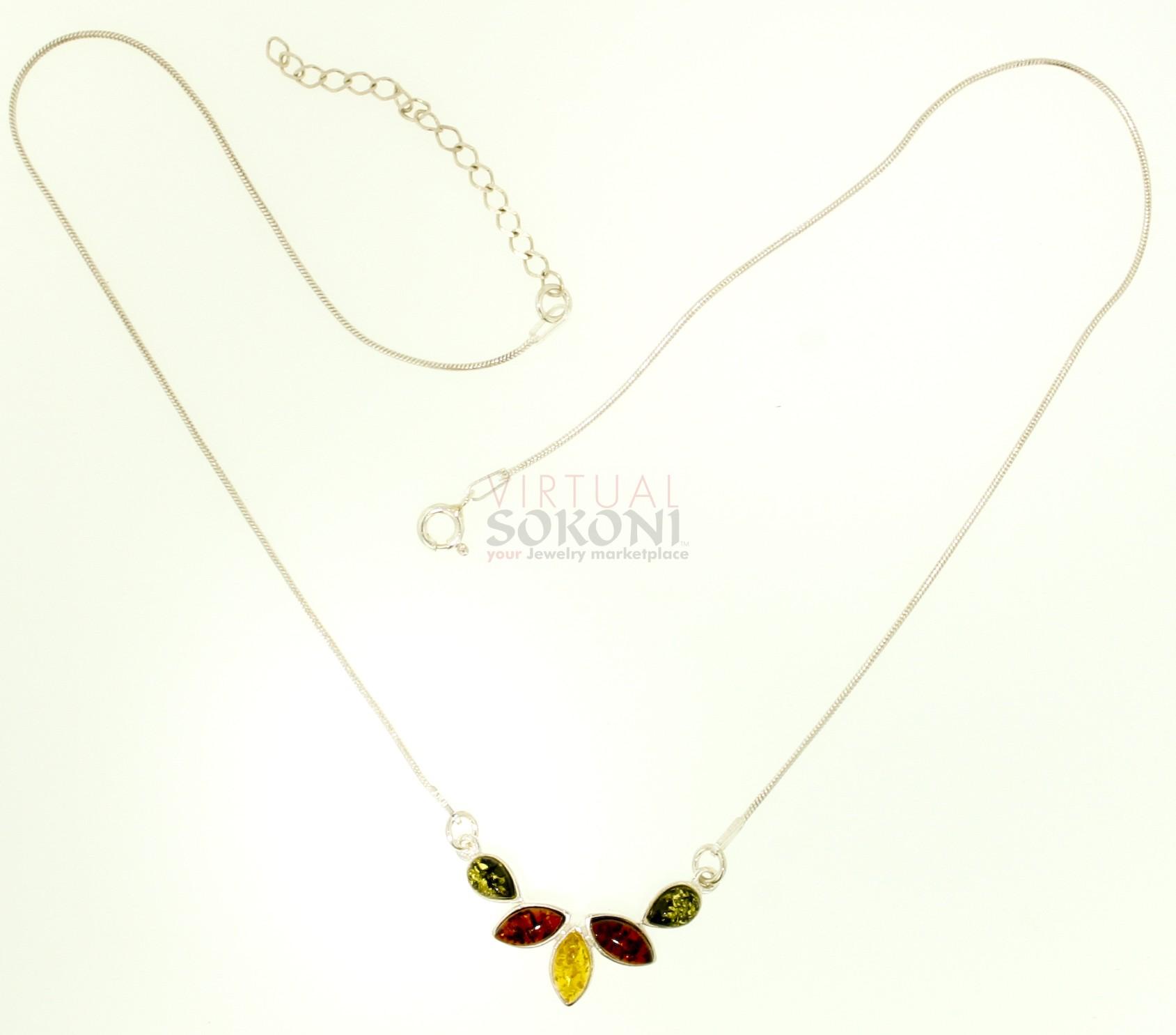 Silver Amp Multi Color Amber Necklace