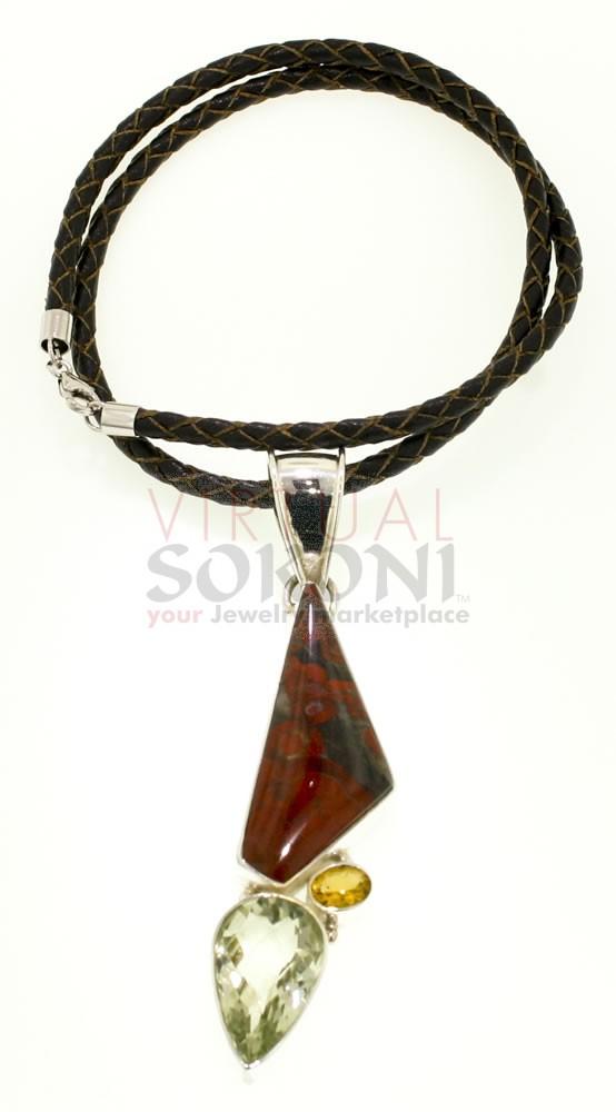 Jasper Ammonite Pendant Necklace with Citrine and Poppy Jasper