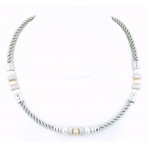 Sterling Silver Twisted Cord Necklace with Pearls by Frederic Duclos at VirtualSokoni.com