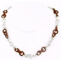 Sterling Silver and Brown Silk Link Chain by Frederic Duclos at VirtualSokoni.com