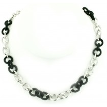 Sterling Silver and Black Silk Link Chain by Frederic Duclos at VirtualSokoni.com